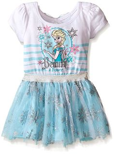 fc0a7419640 Disney Little Girls  Toddler Frozen Dress with Glitter Tulle and Bow