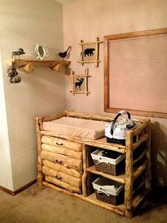 My Hubbyu0027s Project For Baby #2!! It Will Match The Crib He Built. Log  FurnitureBaby ...