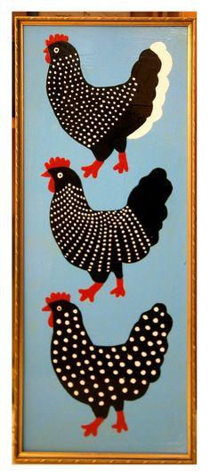 """Saatchi Art Artist: Margret Scherg; Oil 2013 Painting """"chicken in a """"golden"""" frame"""""""