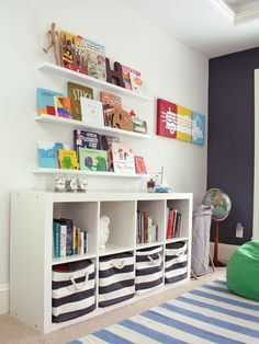 shelves, striped bins, wall shelves