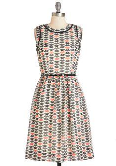 Kiss Is It Dress. Just like the memory of the first kiss with your sweetheart, this ModCloth-exclusive, printed dress brings a smile to your face! #modcloth