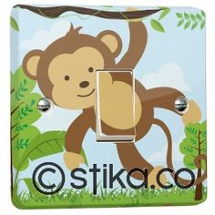 Jungle Monkey Light Switch Sticker for Crabtree Single 1-gang Switch (Model 4070)