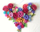 Heart made with felted flowers