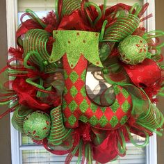 Christmas Stocking Holiday Door Wreath by SouthernWreathDesign