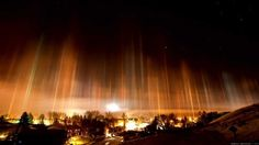 Light Pillars, Russia ~ a visual phenomenon created by the reflection of light from ice crystals.