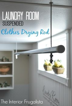 DIY Suspended Clothes Drying Rod for the Laundry Room We used to use a saggy retractable clothesline for drying clothes indoors until we came up with this idea! Even with all the wrinkle free fabrics available today, some things just need to be hung to dry.