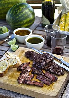 Grilled Skirt Steaks with Two Chimichurris The no-fail Argentine classic, grilled skirt steak, is even better with a choice of two chimichurri sauce Grilled Skirt Steak, Grilled Steak Recipes, Grilling Recipes, Gourmet Recipes, Beef Recipes, Cooking Recipes, Grilling Ideas, Campfire Recipes, Outdoor Grilling