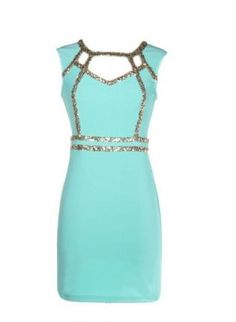 mint bodycon dress with sequins #homecoming