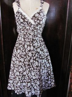 Signature By Sangria Brown White Floral Dress 4 #Sangria #TeaDress #Casual