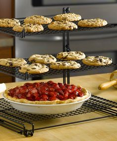 Nonstick Three-Tier Cooling Rack $15 on Zulily.  Would be helpful for serving food at parties too