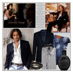 """Johnny Depp: Dark Obsession"" by pat912 ❤ liked on Polyvore featuring Armani Collezioni, English Laundry, Calvin Klein, title of work, men's fashion and menswear"