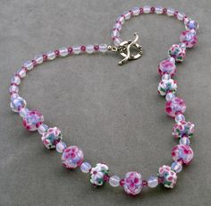 Lovely Pink Floral Lampwork Necklace - perfect for a spring dance!
