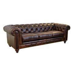 Westland and Birch Newbury Top Grain Leather Chesterfield Sofa with Button Tufting