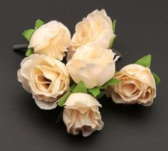 MIC  10 pcs Beige Color Tea Rose Flower Head Artificial Flowers Flower Arrangement Wedding Decorating 3cm   (za192)