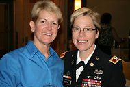 Woman Becomes First Openly Gay General:  An Army officer being promoted to brigadier general openly acknowledged her homosexuality on Friday by having her wife pin her star to her uniform, thus becoming the first openly gay officer of flag rank in the United States military.