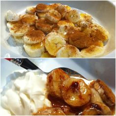 Clean eating dessert: Chop up a banana (or two), sprinkle on some cinnamon, and then drizzle honey over it all! Bake for around at Serve with Greek yoghurt - yummo (-:. I love this snack never had it with dessert or baked! I Love Food, Good Food, Yummy Food, 21 Day Fix, Healthy Snacks, Healthy Eating, Healthy Recipes, Real Food Recipes, Cooking Recipes