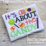 Its All about the Candy Halloween Embroidery Saying Design