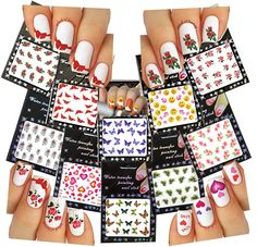 Nail Art Water Slide Tattoo Decals ? Butterflies, Roses, Emoticons, Hearts and More 10- pack ? For Fun Nail Art *** You can get more details by clicking on the image.