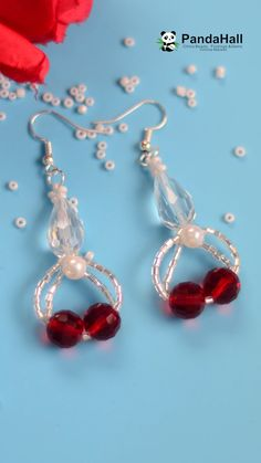 Tutorial on Red Crystal Earrings - DIY Schmuck Seed Bead Earrings, Beaded Earrings, Crystal Earrings, Earrings Handmade, Bead Crafts, Jewelry Crafts, Earring Tutorial, Beaded Jewelry Patterns, Homemade Jewelry