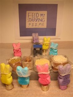 """Feed My Starving PEEPs: """"A non-profit Christian organization committed to feeding God's PEEPs hungry in body and spirit."""" (Peep Show - Food - Marshmallow Bunny, Christian Organizations, Peep Show, Easter Peeps, Diorama, Marshmallows, Minnesota, Worship, Bunnies"""