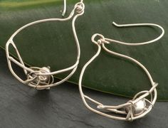 SALE 10% off Dark Pearl Nest and Branch Dangle Earrings in Sterling Silver on Etsy, $45.00