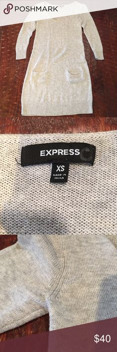 """XS Express Sweater Dress XS Express Sweater Dress. This dress is in excellent condition. There are no stains, pilling, or holes. Would look great with leggings and boots. Dress has 3/4"""" sleeves. Comes from a Smoke Free/Feline Friendly home. Any questions, just ask. Offers always welcome. Express Dresses Long Sleeve"""