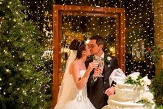 fairy lights make the prettiest backdrop for a christmas wedding!