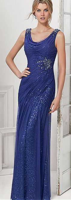 Charming Silk Like Chiffon & Sequin Lace Scoop Neckline Floor-length Sheath Mother Of The Bride Dress