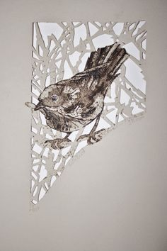 This display shows a rare example of a square collagraph plate. Linocut Prints, Art Prints, Block Prints, Collagraph Printmaking, Linoleum Block Printing, Bird Artwork, Woodblock Print, Pet Birds, Paper Cutting