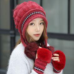 6157fb7538c 2018 Female Winter Knitted Hat Casual All-match Sweet Lovely Rabbit Fur  Knit Women Hat Winter Warm Knitting Cap+Glove. Ericdress Reviews