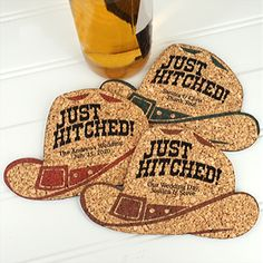 Buy Personalized Cowboy Hat-Shaped Theme Cork Coasters Colors) and other party favors and personalized gifts. Personalized Coasters, Personalized Gifts, Purple Teal, Pink And Gold, Wedding Favors, Party Favors, Cork Coasters, Western Theme, Our Wedding Day