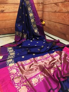 Now make your wardrobe stay updated for every occasion with IndyVogue - your latest fashion stop to buy sarees online. For online saree shopping in India or USA give us a call. Navy Blue Color, Pink Color, Saree Shopping, Buy Sarees Online, Banarasi Sarees, Navy Dress, Fashion Boutique, Hot Pink, Designers