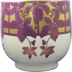 """William Guerin & Co. (WG&Co.) Limoges Arts & Crafts Vine & Berry Motif Jardinière/Vase (Signed """"B.E. Hooker""""/Dated 1915) Berry, Dark Flowers, Autumn Decorating, Vase, Arts And Crafts Movement, Pottery, Ceramics, Antiques, Planters"""