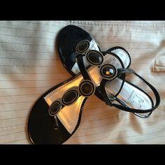 AM SALE Jeweled thong kitten heels Black jeweled kitten heels, never worn. Shoes Heels