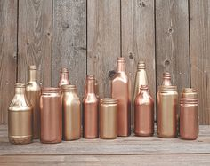 15 Painted jars. Vases. Copper, rose gold, blush gold, Wedding centerpiece, new years decor, party decor. Gold painted.