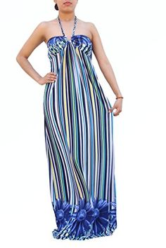 Anni Womens Clothingladies Vneck Sleeveless Floral Print Sexy Beach Maxi Dress with Halter Medium Royal Blue *** Check out this great product.