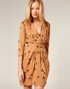 Whistles Parrot Print Drape Pocket Dress