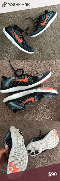 Nike Free 4.0 Flyknit Running Shoes EUC Nike Flyknit 4.0, men's size 7 so equivalent to a women's 8.5. I'll list it in both categories. Only west is on sole. Dope sold out colorway, black night total orange and hyper jade. The soles are actually light blue even though kinda hard to tell in my photos with the light. See stock photo for best color representation. Perfect workout/running shoe that fits like a sock to your foot! Mesh flyknit and flexible sole. I have these in other colors and…