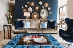 Mirrored Furniture Living Room Design Ideas, Pictures, Remodel and Decor Blue Accent Walls, Blue Walls, White Walls, Tan Walls, Accent Chairs, Living Room Designs, Living Room Decor, Dining Room, Bedroom Decor