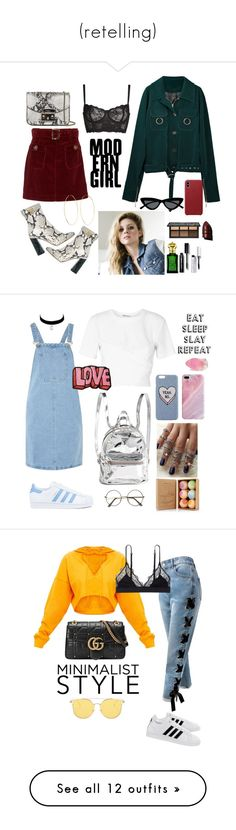 """(retelling)"" by islahb ❤ liked on Polyvore featuring AlexaChung, Rochas, Furla, Naja, Clive Christian, Bobbi Brown Cosmetics, Anastasia Beverly Hills, Magda Butrym, Le Specs and adidas"