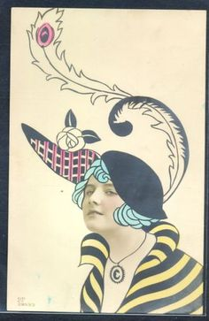 QH104-SURREALISM-ART-DECO-HIGH-FASHION-LADY-FEATHER-HAT-Tinted-PHOTO-MONTAGE-pc