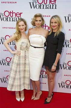 "Leslie Mann, Kate Upton and Cameron Diaz attend the premiere of ""The Other Woman"" in Amsterdam on April 1, 2014."