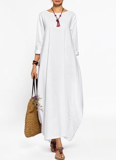 Solid Long Sleeve Maxi O Dress - FlorydayFloral Sleeveless Maxi X-line Dress - FlorydayCotton Maxi Chinese Casual Dress Long Sleeve Solid Dresses - Diy And HomeShop Floryday for affordable Plus Dresses. Floryday offers latest ladies' Plus Dresses col Linen Dresses, Cotton Dresses, Women's Dresses, Casual Dresses, Shift Dresses, Dresses Online, Maxi Robes, Vestido Casual, Long Sleeve Maxi