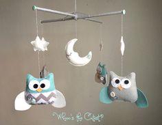 Baby Mobile - Chevron Owl Mobile - for Baby Boy or Girl - Customizable Mobile - Nursery Mobile - Baby Crib Mobile. $80.00, via Etsy.