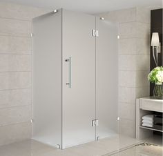 """Aston SEN987F-3238-10 Avalux 32"""" Wide x 38"""" Deep x 72"""" High Frameless Hinged Sho Stainless Steel Showers Shower Enclosures Hinged"""