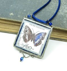 Blue Butterfly Postage Stamp Necklace