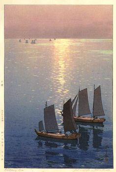 Glittering Sea  by Hiroshi Yoshida, 1926
