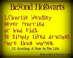 Charlie Weasley never got married. | Community Post: Harry Potter: What J.K. Rowling Said Happened To The Characters After Book 7