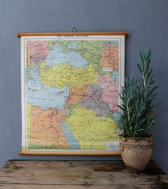Vintage Middle East School Map Pull Down Map 1965 Made in the Netherlands 1960's Geography