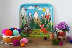 forest friends birch tray by sara vestberg design Granny Chic, Forest Friends, Graphic Design Art, Selling Online, Kitsch, Colorful Interiors, Bunt, Eye Candy, How To Memorize Things